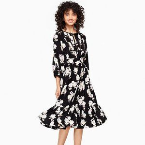 Kate Spade Silk Posy Dress Floral Embroidered